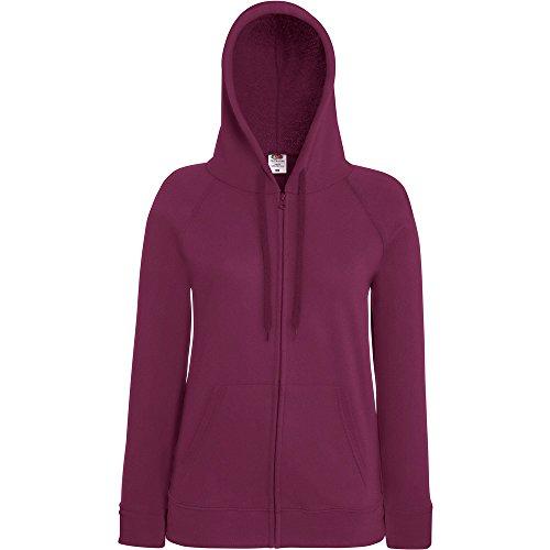 Fruit Of The Loom Ladies Lady Fit Full Zip Hooded Sweatshirt Burgundy