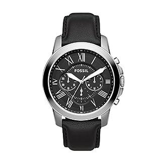 Fossil Grant – Reloj (Reloj de Pulsera, Masculino, Acero Inoxidable, Acero Inoxidable, Cuero, Negro)