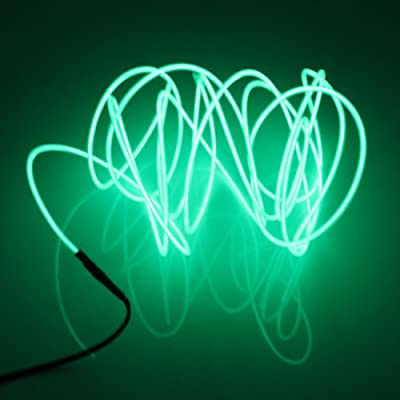 Lerway Light Green 1M Tron Neon Glowing Electroluminescent Wire EL Wire LED Lighting with Transformer for Christmas Celibration, Car Dashboard,Wedding Party,Restaurant Store