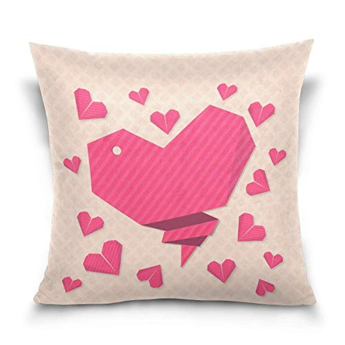 (rongxincailiaoke Kissenbezüge Beautiful Origami Hearts Decorative Square Throw Pillow Case Cushion Cover for Sofa Bedroom Car Double-Sided Design 18 x 18 inch)