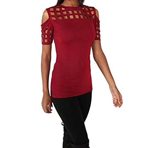 OverDose Women Hollow Out Short Sleeve Blouse Tops