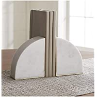 Woohomez White Marble Bookend with Brass Inlay for Home/Office Decor/Gifting and Shelves.