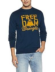 Wrangler Mens Cotton Sweater (8907649216545_W249065DHA79_XL_Indigo Blue)