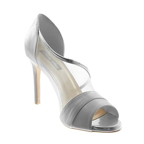 Sandali Scarpe Tacco cm Donna Toe Moda Alto tulle Stiletto Decollete Peep On Scarpe 10 Slip Stiletto Bianco Angkorly qg1Iq