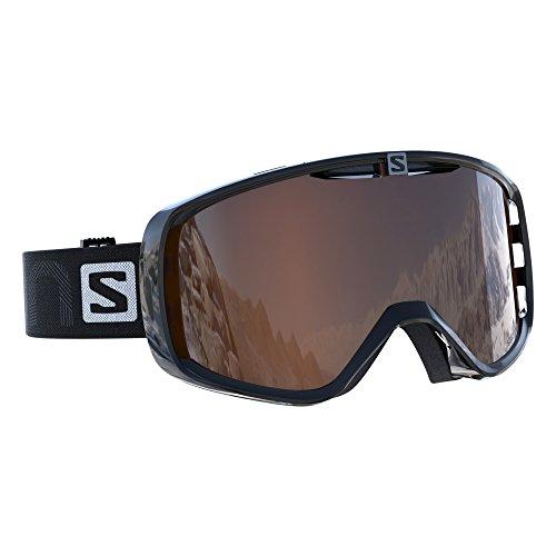 Salomon, Unisex-Skibrille, Für Brillenträger, Für sonniges Wetter, Orangefarbene Multilayer-Scheibe (auswechselbar), Airflow-System, AKSIUM, Schwarz, L39082900 -