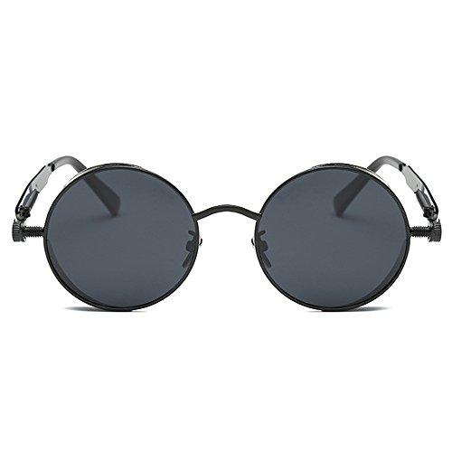 AMZTM Kleine Rund Verspiegelt Linsen Polarisiert Punk Sonnenbrille für Damen und Herren m0OV4SGIfN