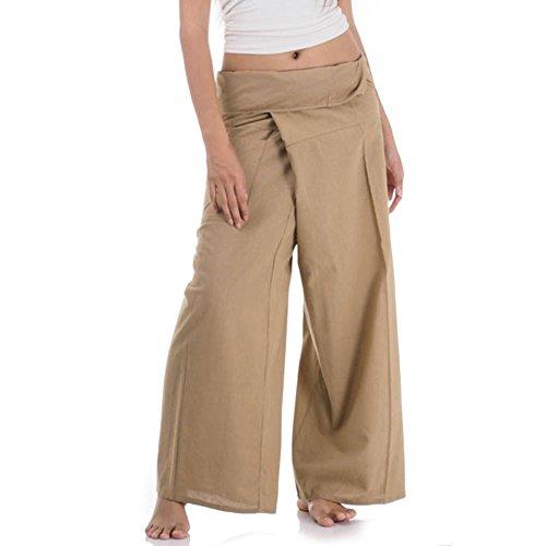 Da Samurai Kostüm - Princess of Asia Thai Fisherman Pants Wickelhose Kung Fu Karate Yoga Hose (Beige)