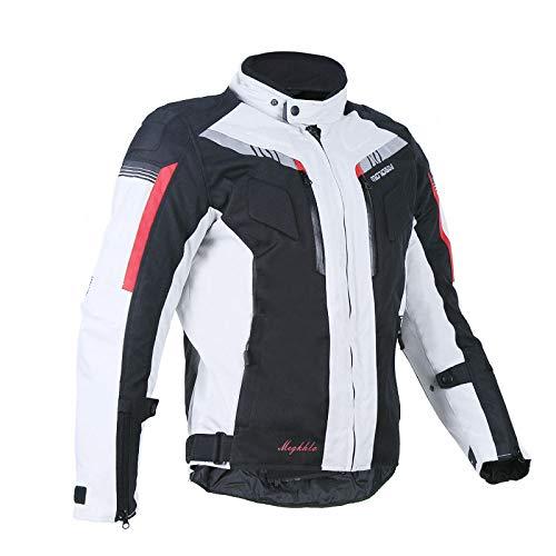 Giacca Moto Uomo Attrezzatura Protezione Traspirante Donna Impermeabile Giacca da Motociclisti,Grey-XXL