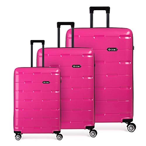 Toctoto Set valigie da viaggio in Polipropilene - Trolley Rigidi e Leggeri con 4 Ruote - 55x40x22 Bagaglio a Mano+Bagaglio medio+Bagaglio grande da stiva (Rosa, Set di 3 (181L))