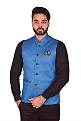 Wearza Mens Blue Woven Cotton Blend Sleevless Rounded Bottom Nehru and Modi Jacket Ethnic Style For Party Wear, Sizes S-XXXL