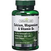 Natures Aid Calcium, Magnesium and Vitamin D3, 90 Tablets (Mineral Formula for the Maintenance of Normal Bones, Teeth and Muscle Function, Made in the UK, Vegan Society Approved)