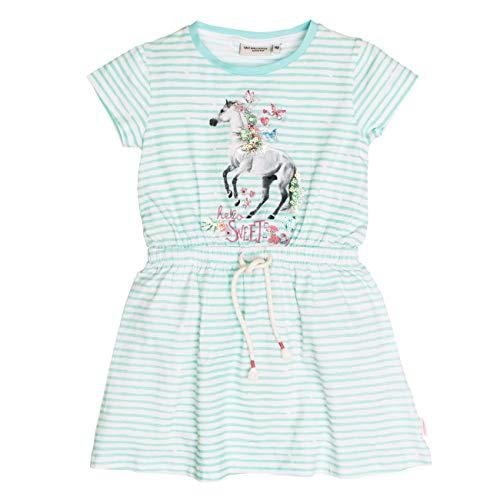 SALT AND PEPPER Mädchen Dress Sweetie Stripe Pferd Kleid, Blau (Pool Blue 434), 140 (Herstellergröße: 140/146)