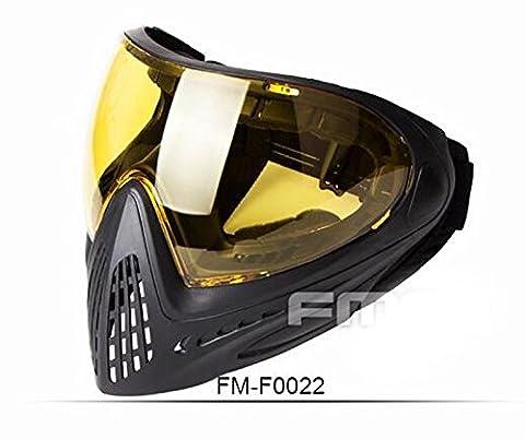 WorldShopping4U Tactical Airsoft Anti-Fog-Goggle Paintball FMA Full Face mit Single-Layer-Maske für eine optimale Outdoor-Sport (Schwarz, Gelb)