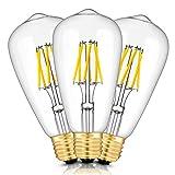 TAMAYKIM ST64 6W Dimmable Antique Edison Style Ampoule Filament LED - 2700K Blanc Chaud 600lm - 6 Watts Consommés - Équivalent 60W - Culot E27 - Angle de Faisceau 360° - Lot de 3