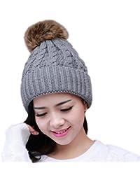 Leisial Sombrero de Invierno para Mujeres Caliente Gorro de Punto Invierno  Tejido Casquillo Sombrero del Esquí 2072cd7cfc4c