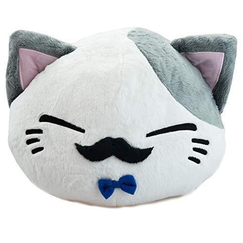 Nemu Neko Nemuneko Sleepy Cat Plüsch Weíß Grau mit Bart und Blauer Fliege 40 x 30 x 22cm Geschenkidee für Kinder und Erwachsene