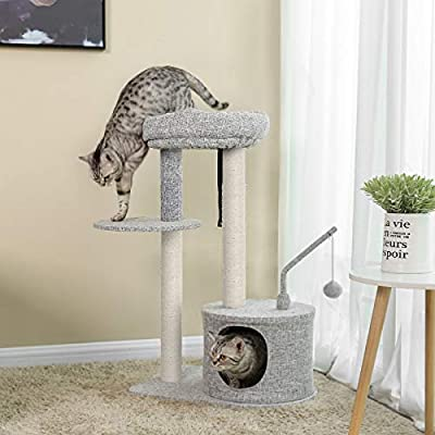 FEANDREA Cat Tree with Sisal-Covered Scratching Posts, Padded Condo and Top Perch, Playhouse Cat Tower Furniture, Linenette Surface, Light Grey PCT62W by FEANDREA