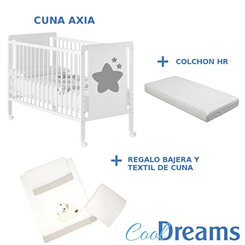 Cuna colecho de bebe Axia + Kit colecho + Colchón HR + 4 ruedas + Regalo CoolDreams