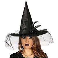86f9122b31d0f Horror-Shop Zauberhafter Hexenhut mit Rose und Schleier für Halloween  Kostüme
