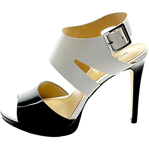 Sandalo Michael Kors Claudia in pelle bianca e vernice nera Blk/optic Wht