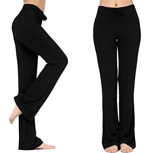 Frauen-Tunnelzug-Hose Modal Comfy Yoga-Hose Tanz und im Freiensport (XXXL, Schwarz)