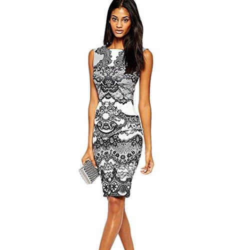 Frauen elegantes Kleid, brezeh Blume Vintage Print ärmellos Slim Kleid M einfarbig (Ärmellos V-hals-knoten)