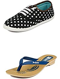 Asian Shoes LR-151 Black Canvas Womens Shoes And PL-01 Blue Slipper Combo