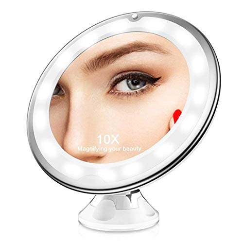 Candybarbar Espejo de vanidad de Maquillaje de Aumento 10X con Luces LED Iluminado a Mano portátil...