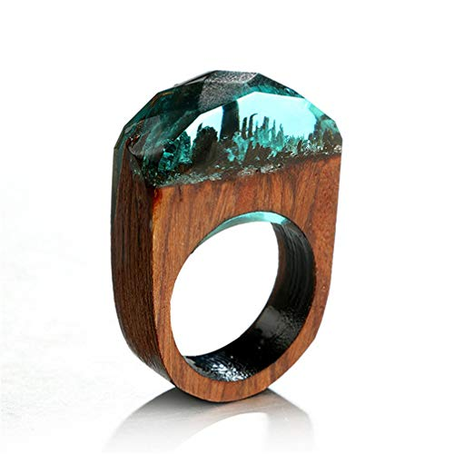 Toporchid Handgemachte geheime Wald Paar Ring Kristall Ring Holz Joint Ring (blau) (Knuckles Kostüm)