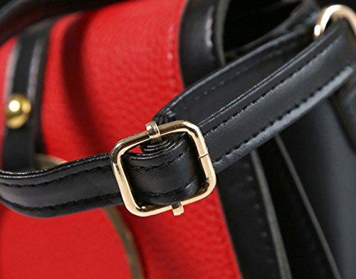 Dameart Und Weise Retro- Schulterbeutel Gefälschter Lederner Kurierdiagonalminihandtaschengurt,Blue Red