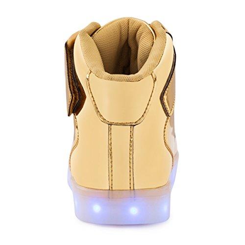 AFFINEST Unisexe chaussures enfant High Top LED chaussures clignotant chaussures de sport pour les enfants gold