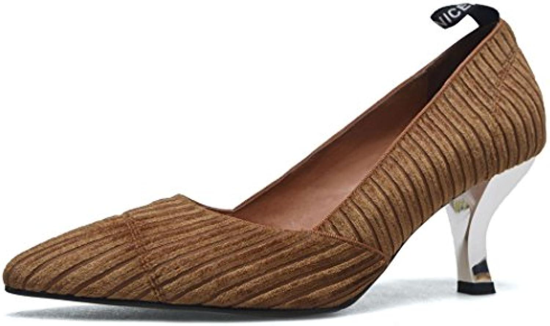 GAOLIXIA Zapatos de tacón alto de cuero para mujer Zapatos de trabajo de terciopelo para señoras Four Seasons...