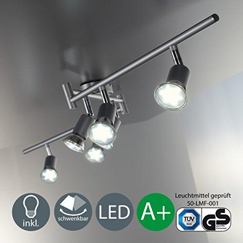Plafonnier 6 spots pivotants avec ampoules led GU10 I lampe moderne I éclairage intérieur I luminaire en métal I lumière blanche et chaude I chambre salon cuisine salle à manger I 230 V I IP20 I 6 x 3 W