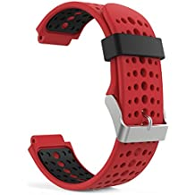 MoKo Forerunner 235 / 220 / 230 / 620 / 630 / 735 Correa - Reemplazo Suave Silicona Watch Band Deportiva Accessorios de Reloj Pulsera Ajustable con Cierre de Clip para Garmin Forerunner 235 Smart Watch, Rojo & Negro