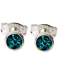 fa1091a7a Black Moon® Sterling Silver Small 4mm Dark Blue and Green Opal Stud Earrings  for October Birthstone - Free Gift…