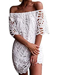 6804c7ca373b YOINS Women Mini Dress Off Shoulder Random Floral Print Self-tie Design  High-Waisted