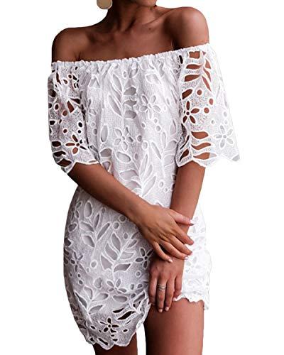 YOINS Sommerkleid Damen Kurz Schulterfrei Lange Ärmel Sexy Blumenmuster Strandkleid,L/EU44,Lace (Frauen Für Kleid Shirt Langarm)