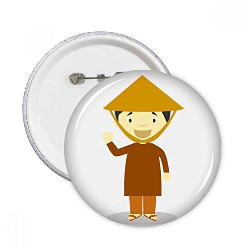 DIYthinker Bambus-Hut Vietnam Cartoon Runde Stifte Abzeichen-Knopf Kleidung Dekoration Geschenk 5pcs Mehrfarbig S