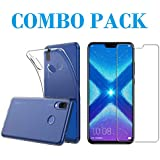ADRY Combo Offer - Tempered Glass & Transparent Back Cover_Premium Quality Screen Guard And Soft Case Cover For Huawei Honor 8X