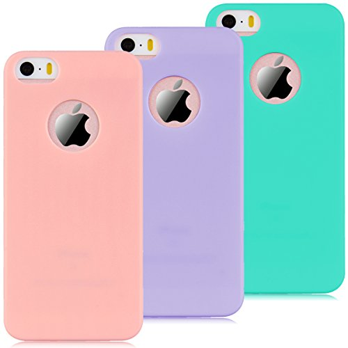 Coque iPhone 5 / 5S / SE, Yokata Solide Mat Anti-Fingerprint Case Housse Étui Soft Doux TPU Silicone Flexible Backcover Ultra Mince Coque - Rose Vert Menthe + Rose + Violet