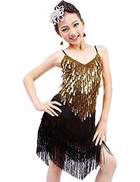Jian E Falda de Baile Latino para niños Niñas Lentejuelas Disfraces de  Borla Ejercicio Rendimiento Ropa bdb0941ef8c