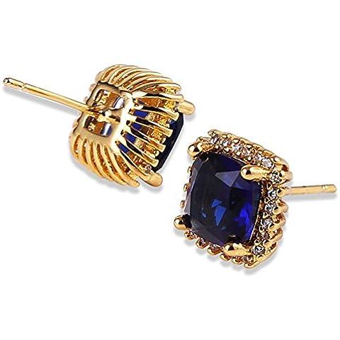Bling fashion Stud orecchini placcato oro giallo 24K Settembre Birthstone Sapphire orecchini