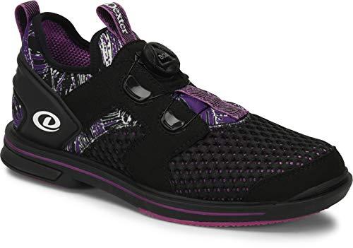 Dexter DexLite Pro BOA - Schwarz/Lila (nur für Rechtshänder) - Bowling-Schuhe Damen, mit Wechselsohle und BOA Verschlußsystem in den Schuhgrößen 36-41 und Mein-Bowlingshop Schuhtasche im Set Größe 38