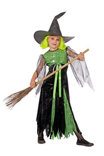 Jannes - Kostüm Hexe Kinder Schwarz Grün mit Hut 128 (Schwarz Und Grün Hexe Kostüm)