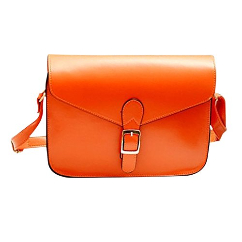 TOOGOO(R) sac A main de messager sac d'enveloppe du style preppy retro sac A bandouliere de haute qualite mallette orange