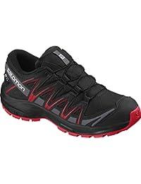 Salomon Kinder XA Pro 3D CSWP J, Trailrunning-Schuhe, Wasserdicht, Schwarz (Black/Black/High Risk Red), Größe 37