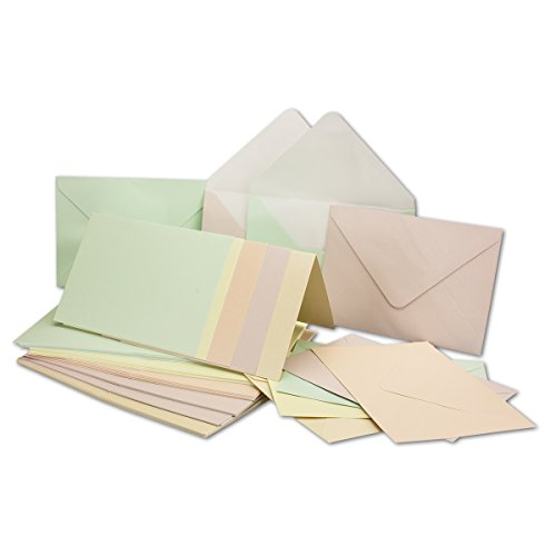 Perlmutt-Karten inkl. Briefumschläge mit Schachtel 50er-Set Blanko Pastellfarben aus 5 Farbtönen bedruckbare Karten in DIN A6 Gustav NEUSER C-Line