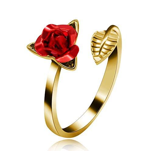 Uloveido Fashion Charm Free Size Rose Ring für Frau Blume Blatt Ring Einstellbar 18 Karat Gelbgold Überzogene Hochzeit Brautschmuck Birhthday Geschenke für Sie Y456-Gold