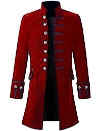 Moda Uomo in Tinta Unita Steampunk retrò Arte e Modello di Stampa Button  del Basamento Scollo b4ae5d71262