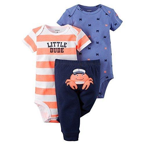 Carter's Baby Boys' 3-Piece Bodysuit & Pant Set (Newborn, Captain Crab) by Carter's (Carters Baby Boy Newborn-sets)
